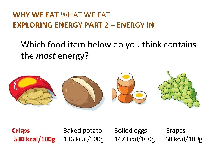 WHY WE EAT WHAT WE EAT EXPLORING ENERGY PART 2 – ENERGY IN Which