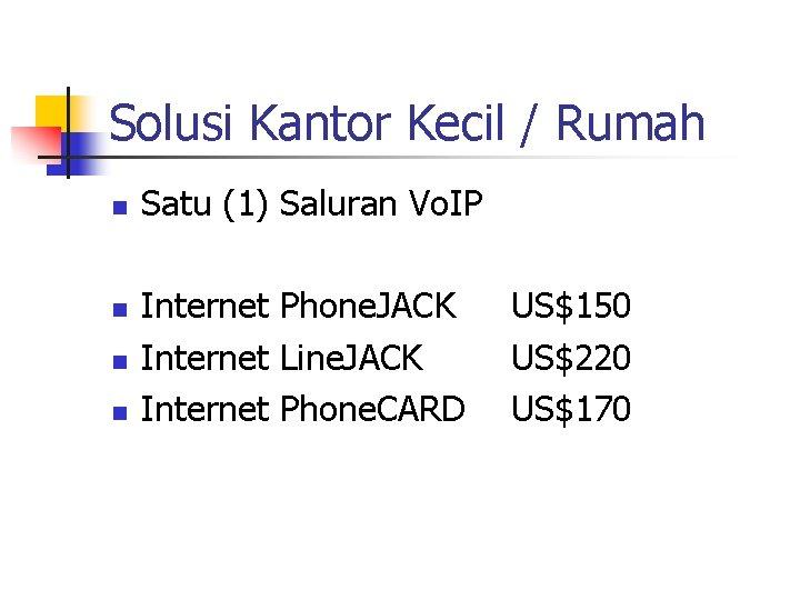 Solusi Kantor Kecil / Rumah n n Satu (1) Saluran Vo. IP Internet Phone.