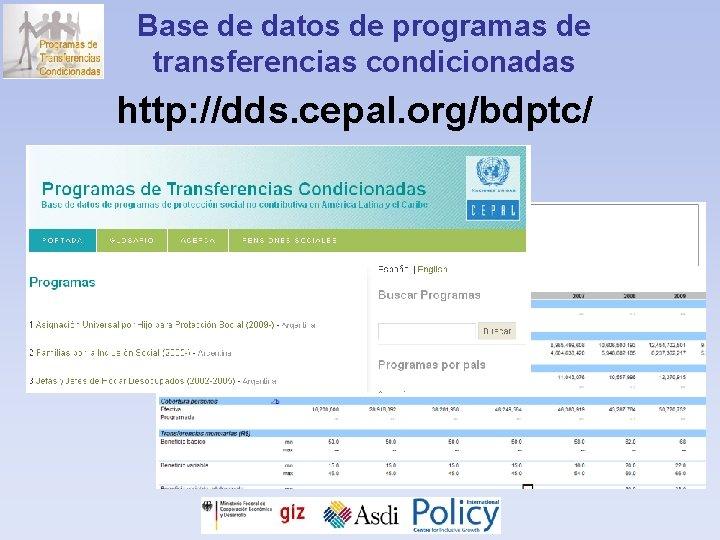Base de datos de programas de transferencias condicionadas http: //dds. cepal. org/bdptc/