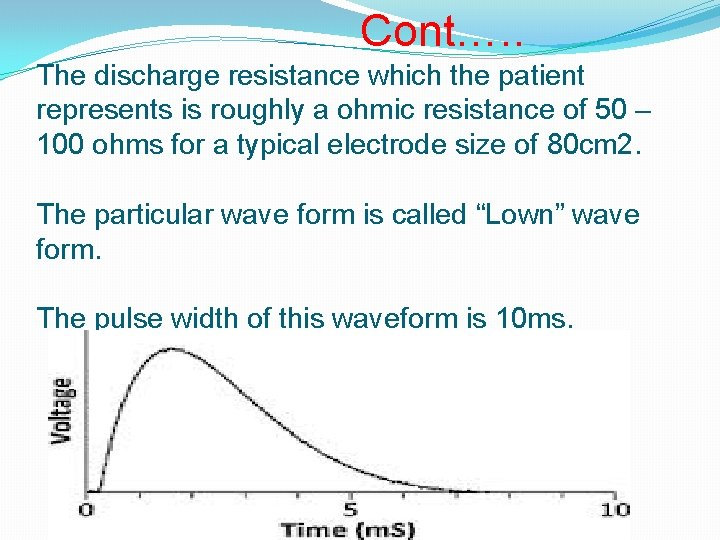 Cont…. . The discharge resistance which the patient represents is roughly a ohmic resistance