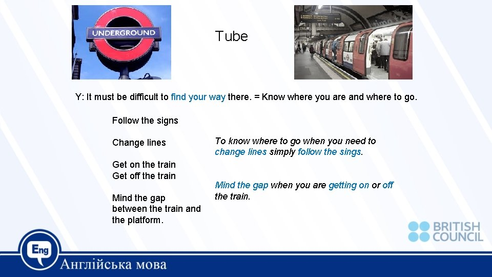 Tube Y: It must be difficult to find your way there. = Know where