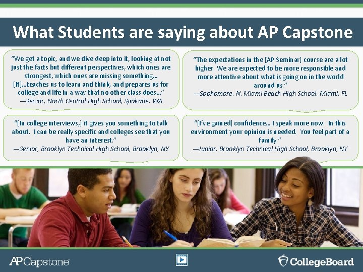 """What Students are saying about AP Capstone """"We get a topic, and we dive"""