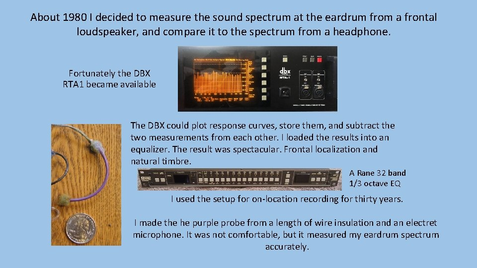 About 1980 I decided to measure the sound spectrum at the eardrum from a