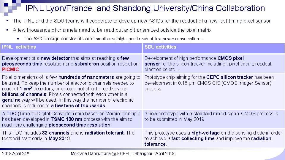 IPNL Lyon/France and Shandong University/China Collaboration § The IPNL and the SDU teams will
