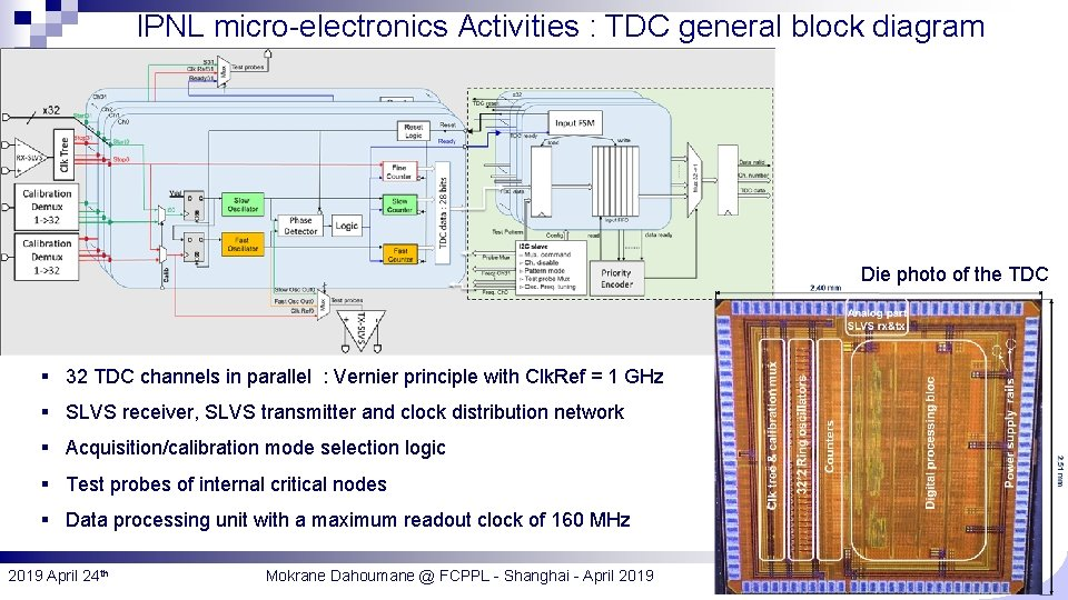 IPNL micro-electronics Activities : TDC general block diagram Die photo of the TDC §