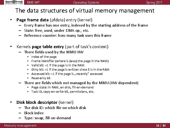 BME MIT Operating Systems Spring 2017. The data structures of virtual memory management •