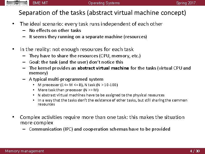 BME MIT Operating Systems Spring 2017. Separation of the tasks (abstract virtual machine concept)