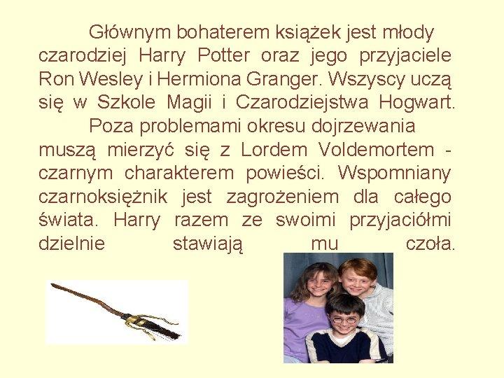 Głównym bohaterem książek jest młody czarodziej Harry Potter oraz jego przyjaciele Ron Wesley i