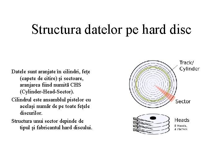 Structura datelor pe hard disc Datele sunt aranjate în cilindri, feţe (capete de citire)