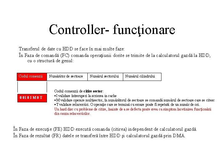 Controller- funcţionare Transferul de date cu HDD se face în mai multe faze: În