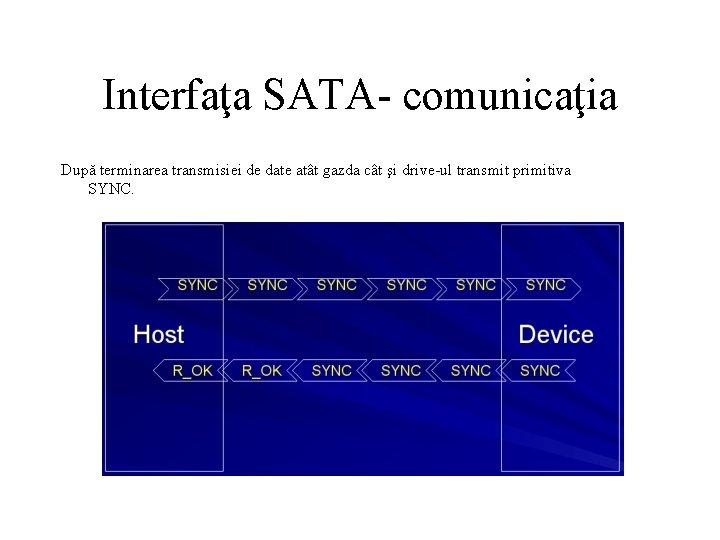 Interfaţa SATA- comunicaţia După terminarea transmisiei de date atât gazda cât şi drive-ul transmit