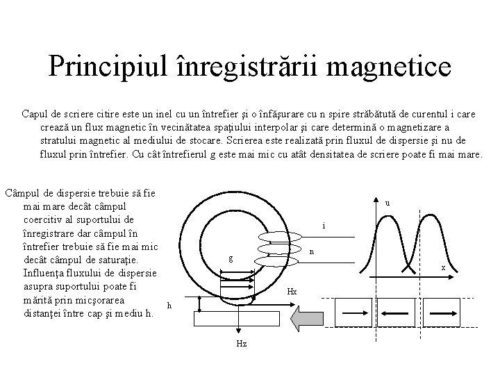 Principiul înregistrării magnetice Capul de scriere citire este un inel cu un întrefier şi