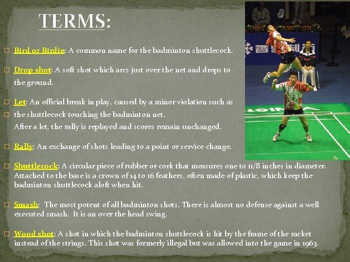 TERMS: � Bird or Birdie: A common name for the badminton shuttlecock. � Drop