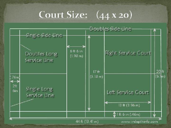 Court Size: (44 x 20)