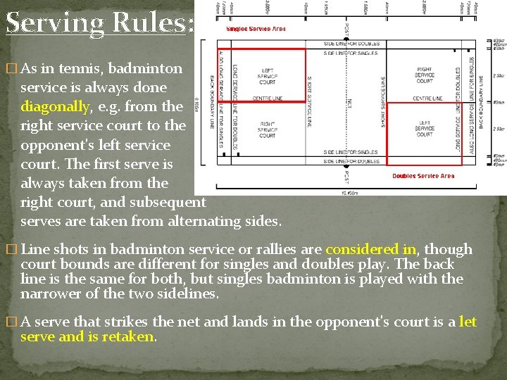 Serving Rules: � As in tennis, badminton service is always done diagonally, e. g.