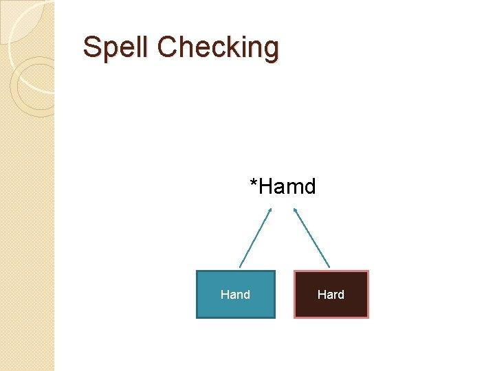 Spell Checking *Hamd Hand Hard