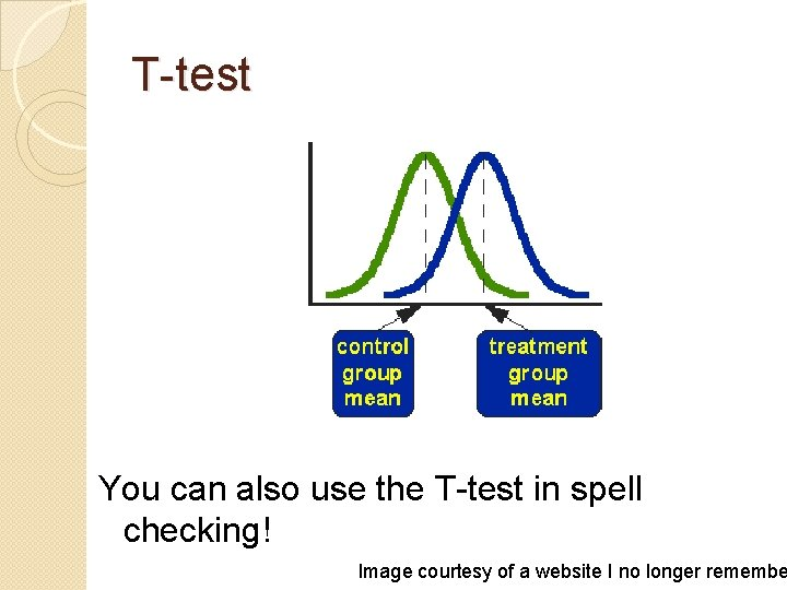 T-test You can also use the T-test in spell checking! Image courtesy of a