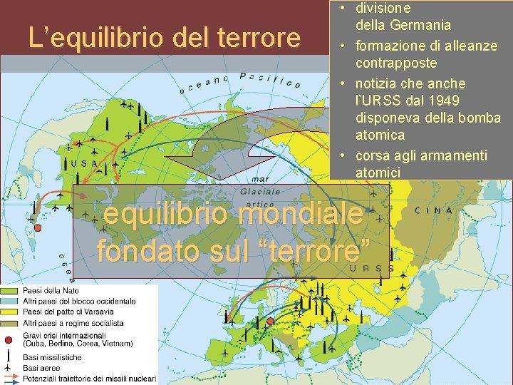 L'equilibrio del terrore • divisione della Germania • formazione di alleanze contrapposte • notizia