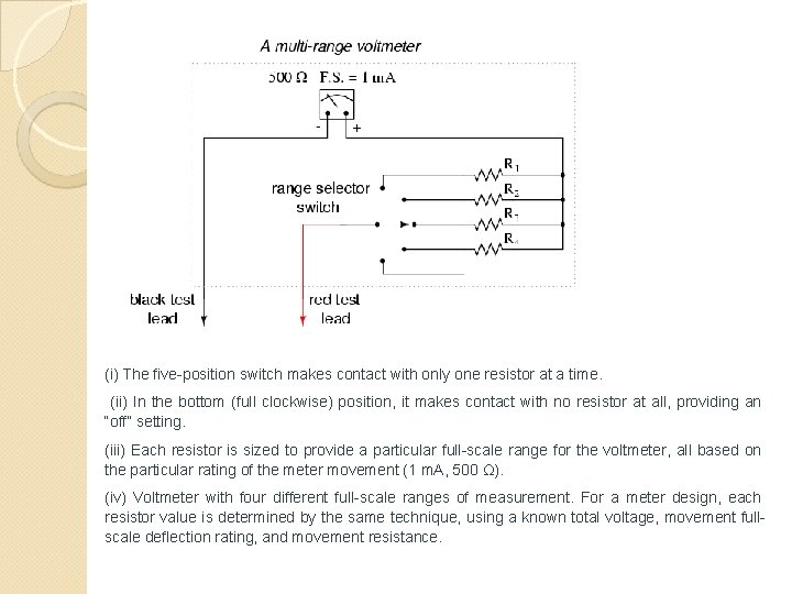 (i) The five-position switch makes contact with only one resistor at a time. (ii)