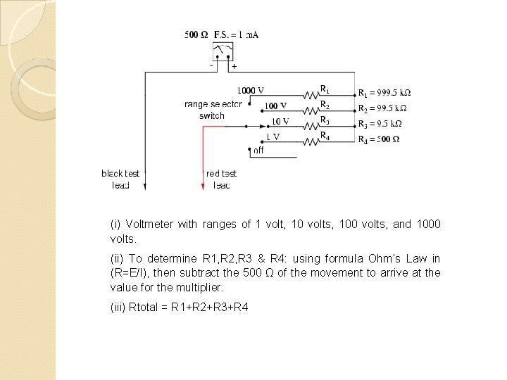 (i) Voltmeter with ranges of 1 volt, 10 volts, 100 volts, and 1000 volts.