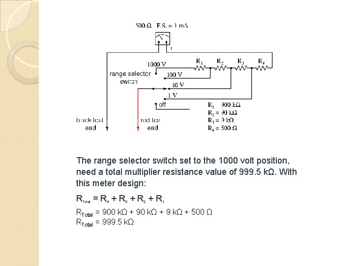 The range selector switch set to the 1000 volt position, need a total multiplier
