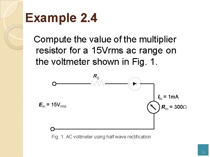 Example 2. 4 Compute the value of the multiplier resistor for a 15 Vrms