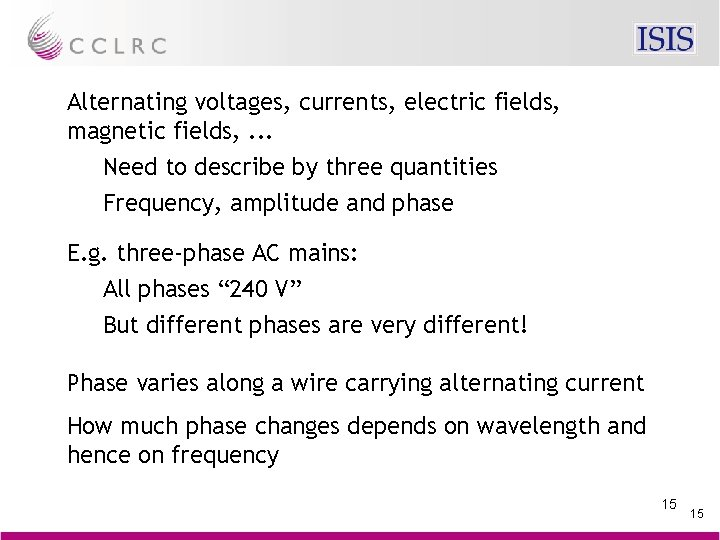 Alternating voltages, currents, electric fields, magnetic fields, . . . Need to describe by