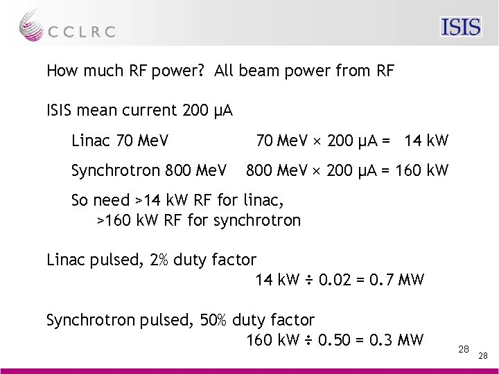 How much RF power? All beam power from RF ISIS mean current 200 µA