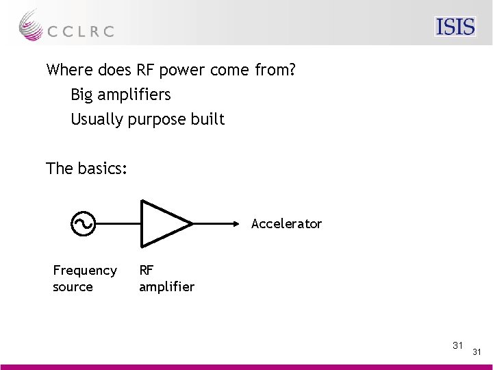 Where does RF power come from? Big amplifiers Usually purpose built The basics: Accelerator
