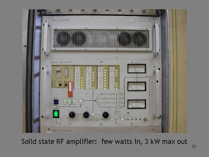 Solid state RF amplifier: few watts in, 3 k. W max out 37