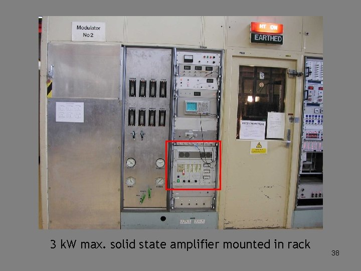 3 k. W max. solid state amplifier mounted in rack 38