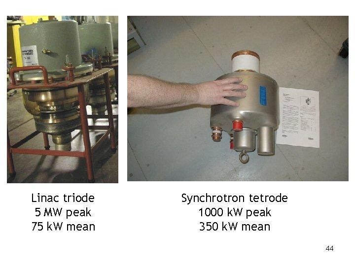 Linac triode 5 MW peak 75 k. W mean Synchrotron tetrode 1000 k. W
