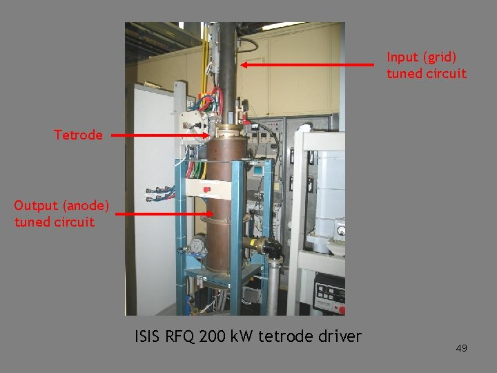 Input (grid) tuned circuit Tetrode Output (anode) tuned circuit ISIS RFQ 200 k. W