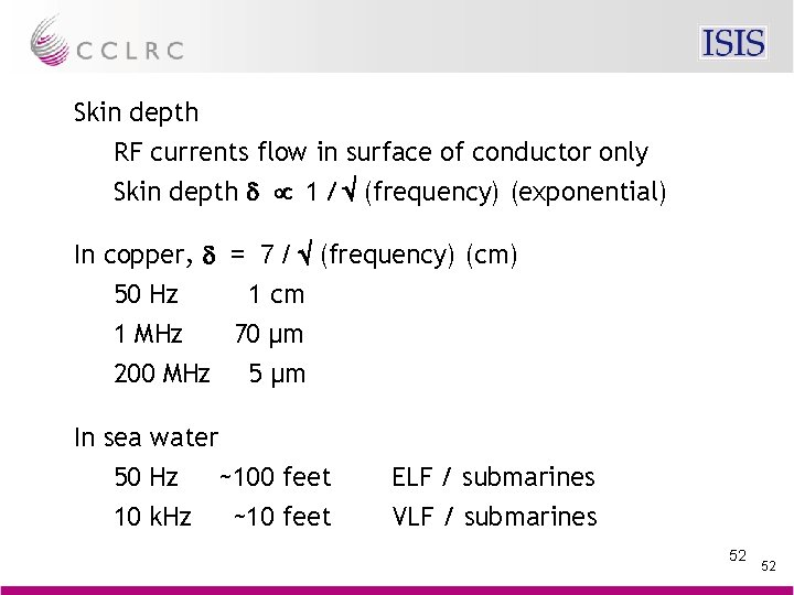 Skin depth RF currents flow in surface of conductor only Skin depth d µ