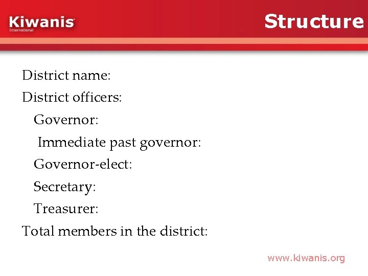 Structure District name: District officers: Governor: Immediate past governor: Governor-elect: Secretary: Treasurer: Total members