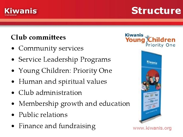 Structure Club committees • Community services • Service Leadership Programs • Young Children: Priority