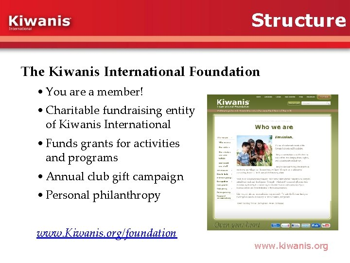 Structure The Kiwanis International Foundation • You are a member! • Charitable fundraising entity