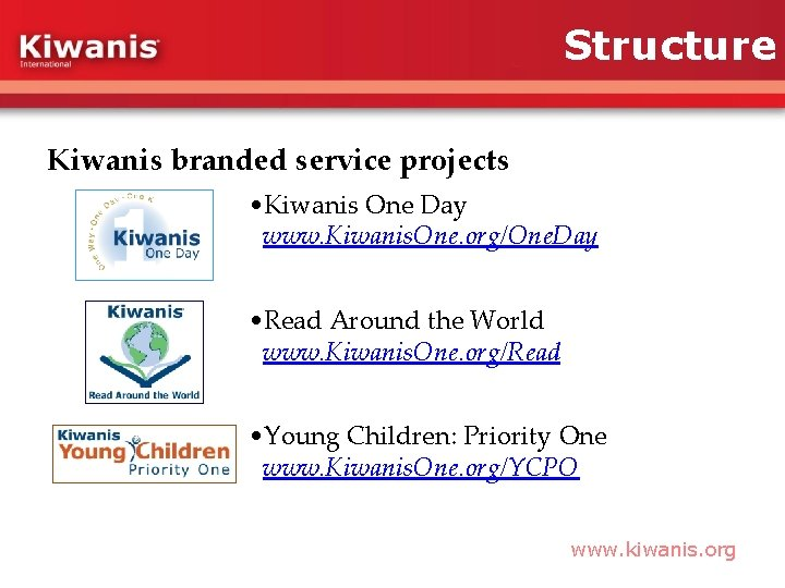 Structure Kiwanis branded service projects • Kiwanis One Day www. Kiwanis. One. org/One. Day