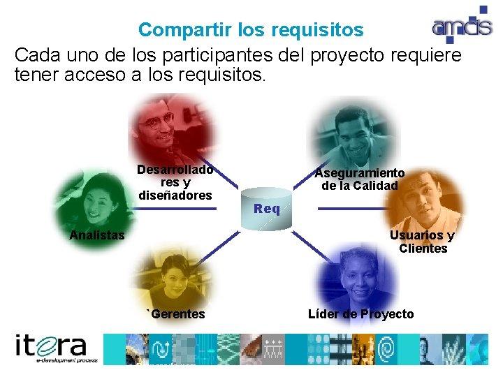 Compartir los requisitos Cada uno de los participantes del proyecto requiere tener acceso a
