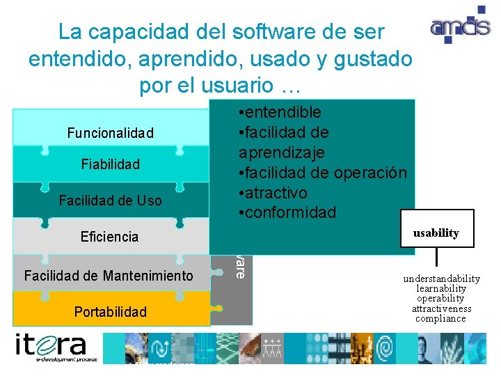 La capacidad del software de ser entendido, aprendido, usado y gustado por el usuario