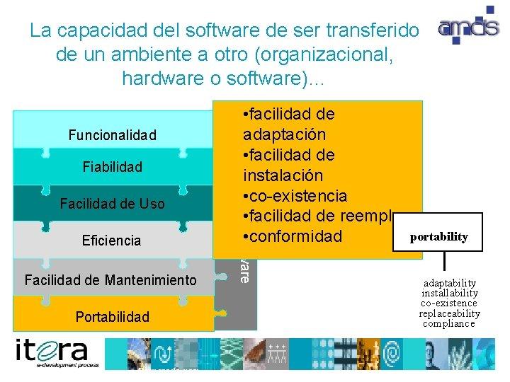 La capacidad del software de ser transferido de un ambiente a otro (organizacional, hardware