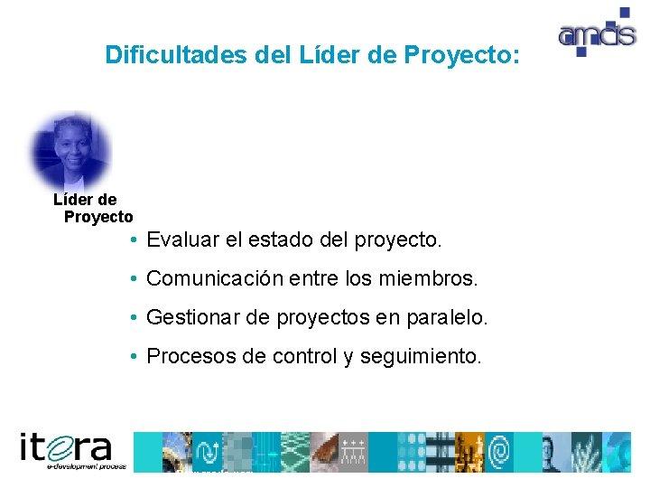 Dificultades del Líder de Proyecto: Líder de Proyecto • Evaluar el estado del proyecto.