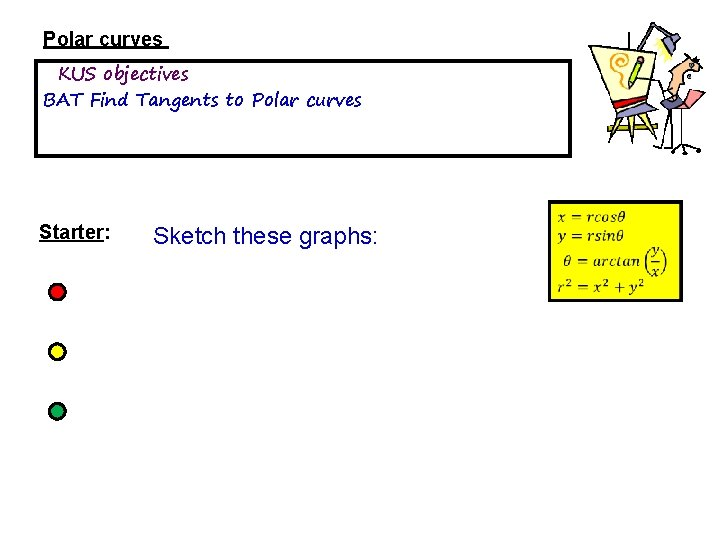 Polar curves KUS objectives BAT Find Tangents to Polar curves Starter: Sketch these graphs: