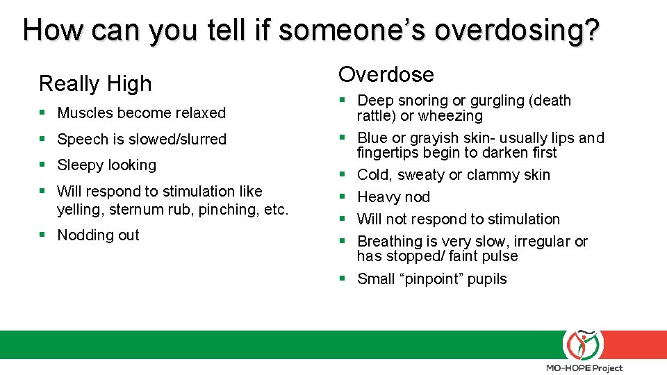 How can you tell if someone's overdosing? Really High § Muscles become relaxed §