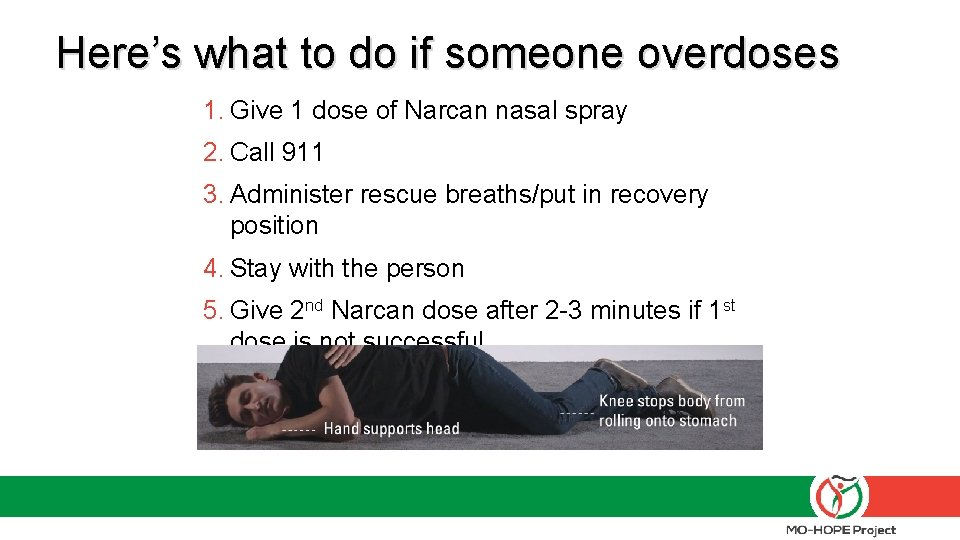 Here's what to do if someone overdoses 1. Give 1 dose of Narcan nasal