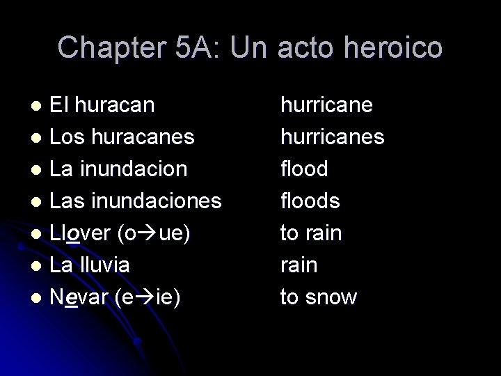 Chapter 5 A: Un acto heroico El huracan l Los huracanes l La inundacion