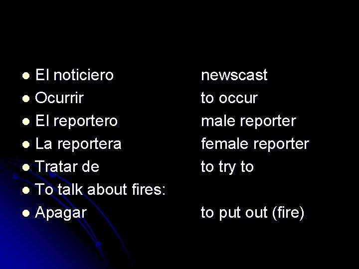El noticiero l Ocurrir l El reportero l La reportera l Tratar de l