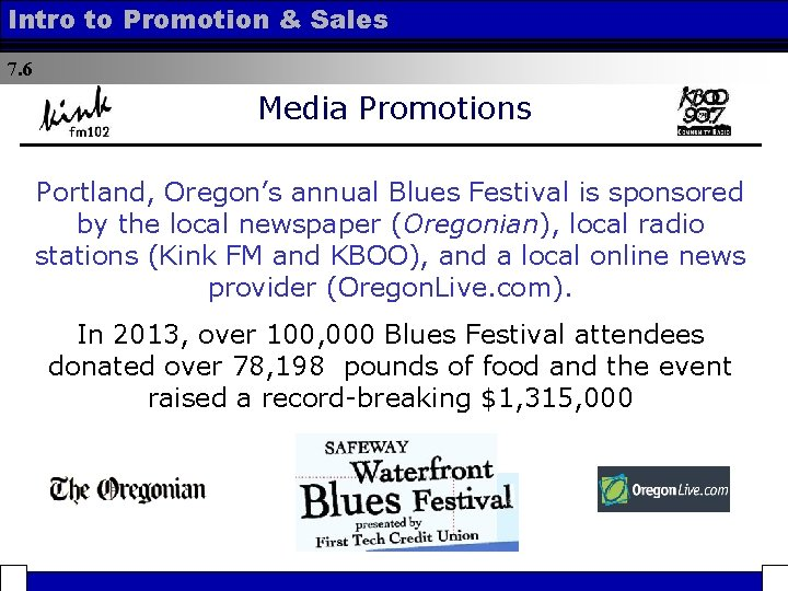 Intro to Promotion & Sales 7. 6 Media Promotions Portland, Oregon's annual Blues Festival