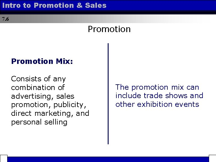 Intro to Promotion & Sales 7. 6 Promotion Mix: Consists of any combination of