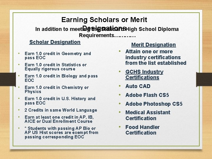 Earning Scholars or Merit Designations In addition to meeting the Standard High School Diploma